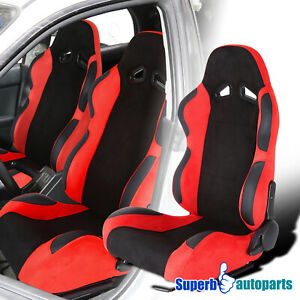 Left Side Black Red Durable Suede PVC Leather Bucket Style Sporty Racing Seat