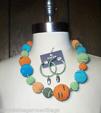 Chico's Sylvea Beaded Globe Statement Necklace Terrilee Seed Bead Earrings NWT