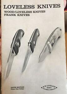 Loveless Knives Catalog Undated, 1974? Frank Knives Fifth Edition.