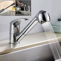 Kitchen Sink Mixer Taps Pull Out Spray Head Single Lever Chrome Mono Brass Tap
