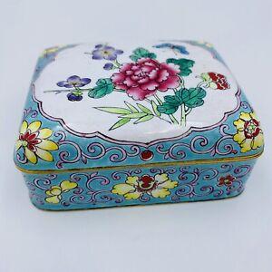 Enamel Cloisonne Box Ornate Peony Flowers Butterfly Blue Asian