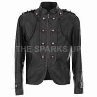 Women's Vintage Military Style Biker Party Wear Leather Jacket - BIG SALE