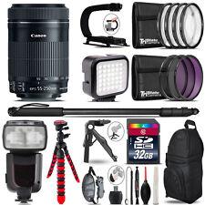 Canon 55-250mm IS STM - Video Kit + Pro Flash + Monopad - 32GB Accessory Bundle