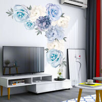 2pcs/Set Peony Flowers Self-adhesive Wall Stickers Floral Bedroom Decals Blue