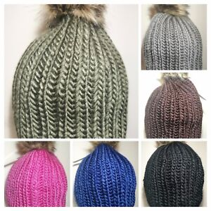 LADIES Women Winter Faux Fur Pom Pom Knit Beanie Cap Bobble Hat