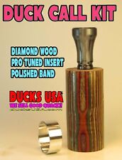Duck Call KIT - Diamond Wood Barrel with Polycarb Double Reed & Alum Band