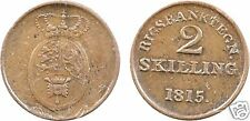 DANEMARK, FRIEDERIK, jeton monnaitaire en cuivre, 2 Skilling 1815 aunc