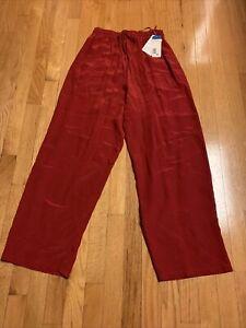 NWT Jones New York  Women Drawstring PJ Lounge Pants Size 10 Red 100% Silk Vtg