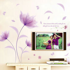 Removable Vinyl Home Decal Decor DIY Purple Flower Wall Stickers Room Art Mural