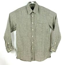 Orvis Mens Shirt Size M Gray Linen Button Front Long Sleeve Micro Check