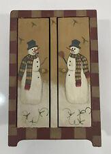 Wooden Christmas Decor Snowman Hand Painted Cupboard Doors Open To Shelves