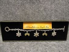 Winter Holiday Snowflake Angel Charm Bracelet Silver w/Rhinestones In Gift Box