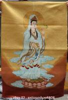 "36"" Tibet Silk Satin Stand Guan Yin Kwan-yin Goddess Lotus Flower Thangka Mural"