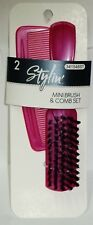 2 Pc Set Get A Stylin Mini Brush & Stylin Comb Great For Travel Or Home PINK