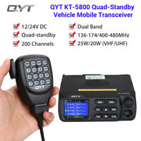 QYT KT-5800 12/24V Dual Band Car Radio VHF UHF 200 Channel Mobile Transceiver AU
