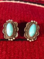Indian Turquoise Clip On Earrings Beautiful Sterling Silver Signed Navajo