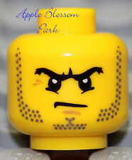 NEW Lego Police MINIFIG HEAD w/Black Beard - City/Castle/Kingdoms/Army Soldier