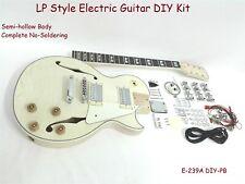 Semi-Hollow Body Electric Guitar DIY,No-Soldering Flame Maple Veneer 239A DIY PB