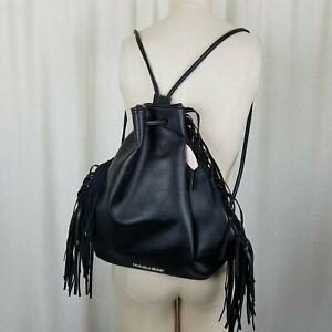 NWT Victorias Secret Black Fringe Backpack Rucksack Cinch Bag Western Boho Biker