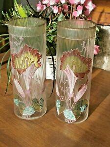 paire de vases rouleaux - Peint, décor aux HEROCALLES - 1900' - Legras? Gallé?