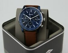 Fossil Sullivan Men's 44mm Blue Dial Brown Leather Multi-function Watch BQ2512