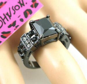 Square black Gemstone black Colour Betsey Johnson Dlicate Women Ring Size 6