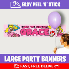 Princess Peach Personalised Birthday Party Banners (110cm Wide) + Design Service