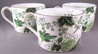 Coalport Cathay Bone China Flat Cups - Set of 3 -Green Birds & Flowers - England