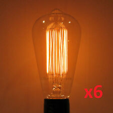 6-Pack LUMIN 30W Edison MARCONI Squirrel Cage S21 Antique Light Bulbs Amber Tint
