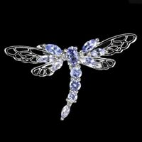 Unheated Pear Blue Tanzanite White Gold Plate 925 Sterling Silver Dragonfly Ring