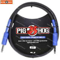 """Pig Hog 9.2mm Speaker Cable Cord 3ft 14 AWG 1/4"""" to 1/4"""" NEW"""