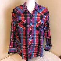 Wrangler Mens Shirt Cowboy Western Pearl Snap Red Pink Blue Plaid Size 18 35 2XL