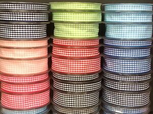 New Gingham Ribbon 10mm, 15mm, 25mm -Assorted colours - 1m-2m-4m lengths