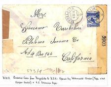 UU245 1944 WW2 doppio CENSURATO La Posta Svizzera USA California {samwells-copre}