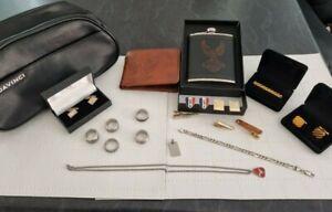 Bulk Lot Men's Jewellery, Tie Pins, Cuff Links, Sterling Silver Bracelet, Plus