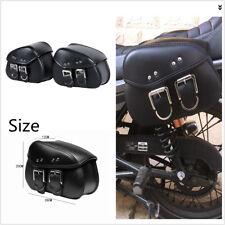 1 Pair Universal Motorcycle Durable PU Leather Side Saddle Bag Pannier Black