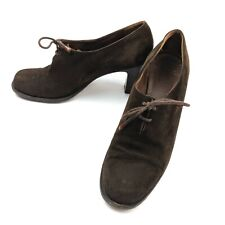 Vintage Henry Beguelin for Barneys Italy Brown Suede Leather Pumps Heels Size 9