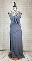 Max Studio women's sz large stretch knit sleeveless maxi dress ruffle front bb09