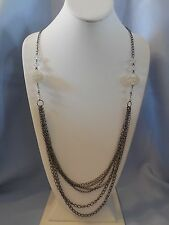 AMAZING LONG NECKLACE STEEL COLORED CHAINS, CRYSTALS, & BUBBLE BALL BEADS