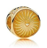 925 Sterling Silver Rays of Sunshine Shine Gold Plated European Charm Bracelet