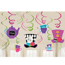12 Mad Hatters Tea Party Hanging Swirls Alice In Wonderland Birthday Decorations