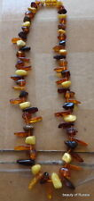 Antique Natural   multicolor Baltic Amber Beads Necklace  37 grams 22""