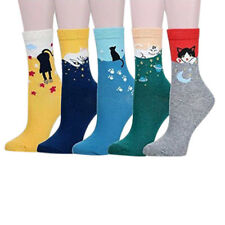 5pcs Womens Students Ankle High Socks Cute Cartoon Fun Funky Striped Warm Socks