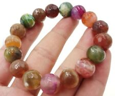 Faceted 12mm Multicolor Dragon Veins Agate Gems Round Beads Bracelet 7.5''