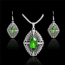 New Womens Silver Green Ethnic Oval Cubic Zirconia Necklace Pendant Earrings Set