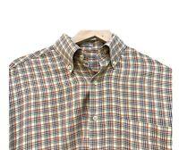 Men's Peter Millar Brown Plaid Long Sleeve Shirt Size Medium