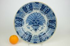34 cm / 13.6 inch large Delft Blue and White Wall Plate Peacock decor yellow rim