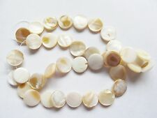 Mother of pearl shell MOP cream white 11mm flat round coin beads 15""