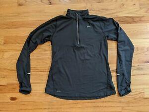 Women's Nike Dri-Fit Running Black Long Sleeve Pullover Shirt Size M 1/4 Zip Up