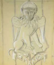 alte Zeichnung TORWÄCHTER Papier Löwe Tiger Raubkatze Entwurf für Skulptur